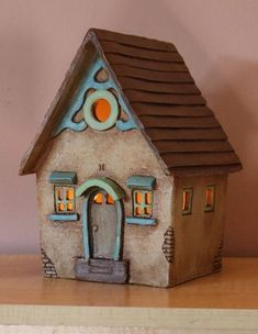 Clay House Harry Tanner Design ceramic night light lamp or garden sculpture Clay Houses, Ceramic Houses, Miniature Houses, Ceramic Clay, Paper Houses, Ceramic Birds, Hand Built Pottery, Slab Pottery, Ceramic Pottery