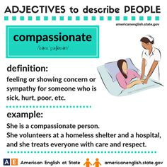 Adjectives to describe people: compassionate English Adjectives, English Vocabulary Words, Learn English Words, Grammar And Vocabulary, English Idioms, English Lessons, English Grammar, English Language, English Study