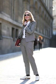 This is one classic look that's kept edgy with trouser socks and the perfect oxford. We'll definitely be copying this.