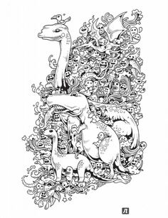 Иллюстрация 4 из 46 для Вторжение дудлов. Не самая обычная раскраска для взрослых - Зиффлин | Лабиринт - книги. Источник: Лабиринт