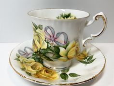 Yellow Rose Tea Cup and Saucer Royal Crest Tea Cups English