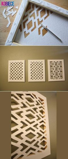 Cut canvas and then paint it. You could also used painted cut canvas or something similar in weight, even wood veneer to use on glass doors that need decoration and some camouflage of contents. Fun Diy Crafts, Home Crafts, Arts And Crafts, Paper Crafts, Canvas Crafts, Diy Paper, Paper Art, Stick Crafts, Beach Crafts