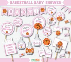 Pink Basketball Baby Shower for Girls by PixieBearParty on Etsy…