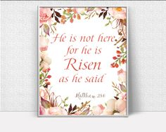 He Is Risen Decor, easter typography, bible quote, easter holiday Printable Wall Art, inspirational art, Art Prints, Minimalist Print #giftidea #birthdaygiftideas #housewarminggift