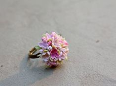 lilac Ring flowers ring vintage ring jewelry by Joyloveclay