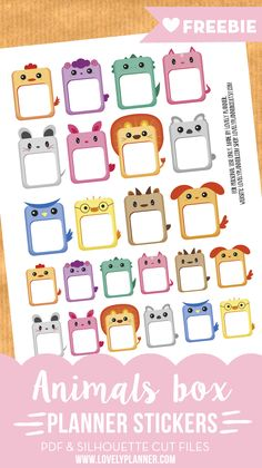 Free Printable Animals Planner Notes Stickers. PDF and Silhouette Cut files included. {newsletter subscription required}