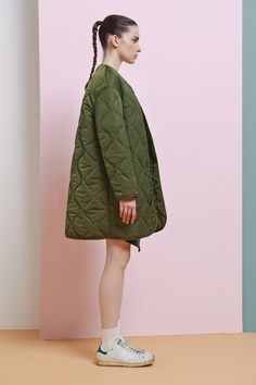 FRS Army Green Oversized Quilted Jacket - FrontRowShop