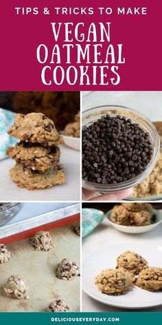 These vegan oatmeal cookies are bursting with chocolate chips, rolled oats, and naturally sweetened with brown sugar. They're quick and easy to make in less than 30 minutes, plus they're 100% vegan, and gluten-free. Easy Gluten Free Desserts, Healthy Vegan Desserts, Vegan Dessert Recipes, Gluten Free Cookies, Vegan Oatmeal Cookies, Vegetarian Meal Prep, Rolled Oats, Cheap Meals, Chocolate Chips