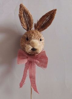 Sisal Straw Easter Bunny Rabbit Pick Pink Burlap Bow Shabby Chic 4 Wreath Floral
