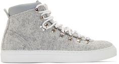 Diemme: Grey Felted Wool Mid-Top Marostica Sneakers | SSENSE