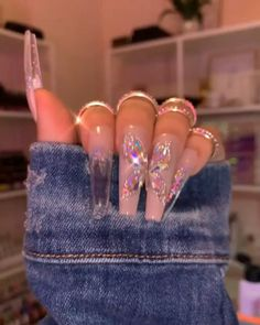 Bling Acrylic Nails, Drip Nails, Best Acrylic Nails, Simple Acrylic Nails, Bling Nails, Swag Nails, Gel Nails, Ballerina Acrylic Nails, Neon Pink Nails