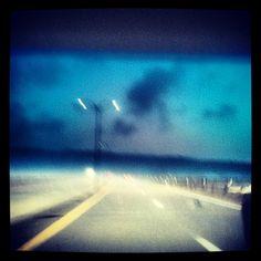 Driving across the Jamestown Bridge as the fog rolls in - 8.4.2012
