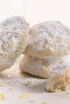 This is a lemony riff on Wedding Cookies; they literally melt in your mouth. Lemon Snowball Cookies