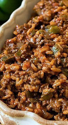 Texas Hash Texas Hash- A quick one-skillet meal made with ground beef, peppers, rice, tomatoes and chili powder. The post Texas Hash & Foods My Family Loves appeared first on Ground beef recipes . Mexican Food Recipes, Dinner Recipes, Indian Recipes, Spanish Rice Recipes, Breakfast Recipes, Breakfast Cooking, Mexican Meals, French Recipes, Indian Snacks