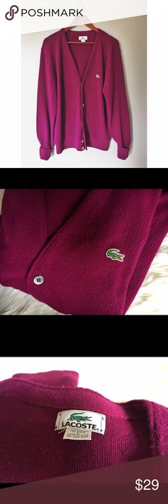 ✨Lacoste✨ Vintage Fuchsia Grandpa Style Cardigan This vintage cardigan is in amazing condition! Grandpa style for baggier fit! I believe it's a men's but can be worn by either men's or women's! Beautiful purple pink fuchsia color! Feel free to ask any questions or make an offer!  Lacoste Sweaters Cardigan