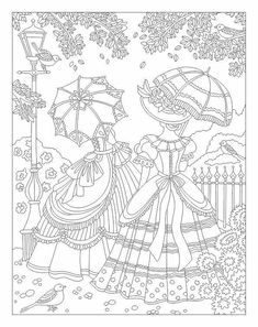 Victorian ladies adult coloring page Animal Coloring Pages, Coloring Book Pages, Printable Coloring Pages, Coloring Pages For Kids, Coloring Sheets, Vintage Embroidery, Embroidery Patterns, Hand Embroidery, Sue Sunbonnet