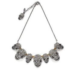This is reminiscent of Alexander McQueen work without the huge price tag! (Skull Choker. The perfect mix of a classic jewelry shape and a rock 'n' roll emblem, this choker exudes a killer mix of glamour and edge. As a perfect finishing detail, it has a skull clasp.   $220.00)