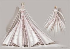 krikorjabotian: The Enchanted Bride Of Dress Illustration, Wedding Illustration, Beauty Illustration, Fashion Figures, Fashion Models, Fashion Beauty, Wedding Dress Sketches, Wedding Dress Styles, Fashion Figure Templates