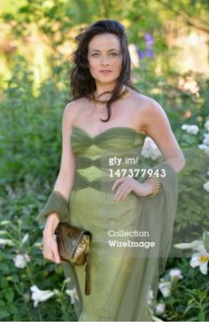 Lara Pulver in our textured silk organza dress with tulle overlay.