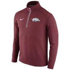 Mens Nike Crimson Arkansas Razorbacks 2015 Football Coaches Sideline Half-Zip Tri-Blend Performance Knit Top
