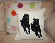 Handmade pillow. Fabric is a linen/ cotton blend. Approximately 16x16 inches. Designs are drawn and screenprinted by hand. Due to the handmade