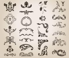 Vintage ornate design elements vector free download