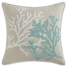product image for Coastal Living Coral Life Square Throw Pillow in Aqua Produktbild für Coastal Living Coral Life Square Dekokissen in Aqua Coastal Bedrooms, Coastal Living Rooms, Coral Life, Aqua Bedding, Beach Bedding, Coastal Bedding, Luxury Bedding, Bedding Sets, Coral Pattern