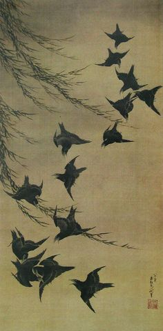 Katsushika Hokusai(葛飾北斎 Japanese, 1760-1849)    Willow and birds  柳に烏図