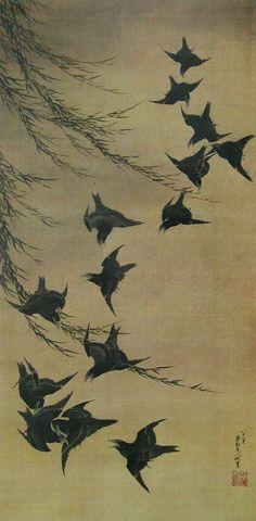 Katsushika Hokusai(葛飾北斎 Japanese, 1760-1849)  Willow and birds  柳に烏図