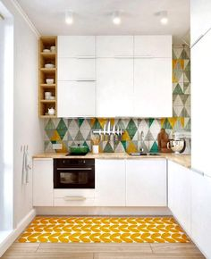 Kitchen Layout | Tile Backsplash | Mustard Color | Triangle Pattern | Home Decor |  Room Ideas | Interior Design