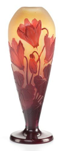 Art Glass:Galle, A GALLÉ CAMEO GLASS FOOTED VASE. Émile Gallé, Nancy, France, circa1900. Marks: Gallé (etched). 7-1/4 inches high (18.4 ...