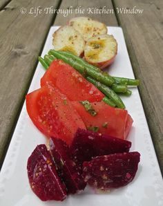 Beyond the Greens ✳ Potato, Beet, Green Bean & Tomato Composed Salad Red Wine Vinaigrette, Green Beans And Tomatoes, Recipe Boards, Keep It Cleaner, Beets, Tuna, Salads, Fish, Salad
