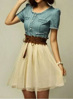 redo denim dress into this and a skirt, maybe dark green