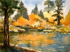 Autumn at Intake II, watercolor, Plein Air painting