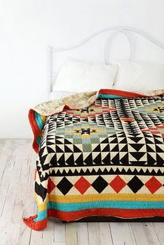geometric bed spread