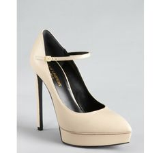 Yves Saint Laurent nude leather pointed toe platform mary jane pumps 571