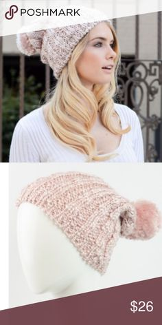 Baby Pink Slouchy Pom Beanie So cute and cozy! 100% acrylic. Price firm. Accessories Hats