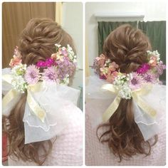 Veil Hairstyles, Lolita Fashion, Headdress, Bridal Hair, Wedding Day, Flower Girl Dresses, Hair Beauty, Headbands, Wedding Dresses