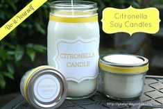Soy Citronella Candles- great for gifts or make for parties in the backyard!
