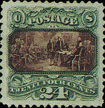 Like other stamps of the issue, the Declaration of Independence is printed in two colors, green and violet, and can be rightfully called a miniature masterpiece. Artist John Smillie made an exquisite and highly precise copy of the similarly named painting by John Trumbull, having engraved 42 persons with six principal figures recognizable only through a magnifying glass.  The 24 cent stamp uses a G grill and comes with split grill, double grill or basic gum. An unused sample with an inverted…