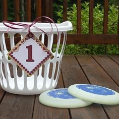 "Home-made ""Basketful of frisbee's"" .easy and inexpensive family reunion game or for any gathering"