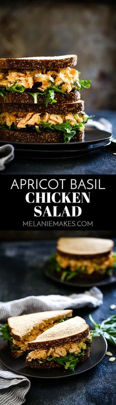 Dried apricots and fresh basil, add bright, warm weather flavors that would make this make ahead Apricot Basil Chicken Salad stand out in any picnic lineup. #chickensalad #chicken #sandwiches #apricot #basil #easyrecipe
