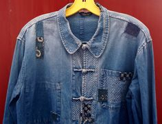 upcycled chinese indigo jacket, mended and patched with antique japanese cottons
