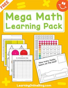 Get this page Mega Math Learning Pack FREE. Includes printable manipulatives and sheets for teaching math to children ages 4 to Perfect for use in the home, homeschool, classroom, and more. Math Worksheets, Math Resources, Math Activities, Math Games, Cycle For Kids, Mega Math, Addition And Subtraction Practice, Math Manipulatives, Online Blog