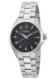 Accutron by Bulova 63P107 Watches,Women's Brussels Diamond Stainless Steel Black Dial, Luxury Accutron by Bulova Quartz Watches