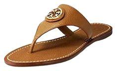 02a973d11 Tory Burch Nwt Selma Flat Thong Leather Slip-on Logo Brown Sz 10.5 Tan  Sandals