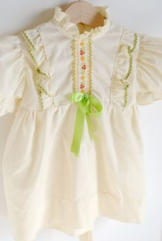 Dresses Vintage Nannette White Short Sleeve Dress For Baby Made In Usa Adorable Baby & Toddler Clothing