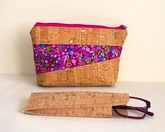 Cork Duo PDF Sewing Pattern includes SVG file, Pouch pattern, cosmetic bag, glasses case, glasses pouch, cork bag, cork pouch, zip pouch