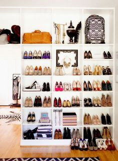 13 Creative Ways To Organize Your Shoes, Inspired By Pinterest via @WhoWhatWear. Living Spaces If your shoe collection is worth showing off, take it out of the bedroom and into the living room. Note: this really only works if you have built-in shelving. Tip: Incorporate household items into the mix to give the space some artistic flair.