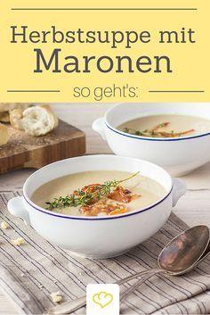 Mhh habt ihr schon mal Maronen-Suppe probiert? Das ist eine Herbstsuppe, die der Seele gut tut! Probiert das Rezept unbedingt mal aus!